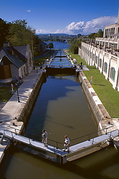 Locks at Rideau Canal, Ottawa, Quebec, Canada, North America, America