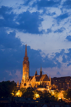 Matthias Church and Fishermen's Bastion, Illuminated Matthias Church and Fishermen's Bastion on Castle Hill in the evening, Buda, Budapest, Hungary