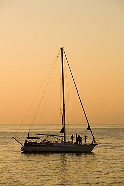 View to a sailingboat on the sea, Little Venice, Mykonos-Town, Mykonos, Greece