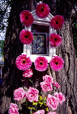 Shrine on tree decorated for Corpus Christi celebration in Spicimierz near Lodz, Poland