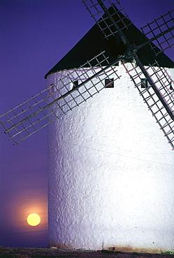 Windmill at moonrise, Campo de Criptana, Province Ciudad Real, Castilla-La Mancha, Spain