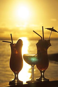 Tropical Cocktails at Sunset, The Rarotongan Beach Resort, Rarotonga, Cook Islands