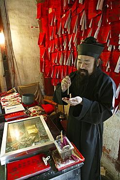 Taoist monk, Grand Temple, Taoist Heng Shan south, Hunan province, Hengshan, Mount Heng, China, Asia