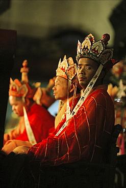 High-ranking monks at prayer service at Qiyuan monastery, Jiuhuashan, Anhui province, China, Asia
