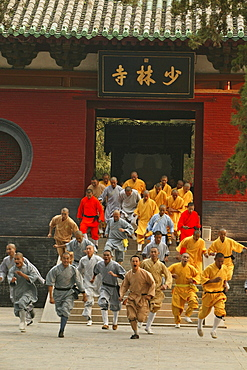 Shaolin Buddhist monks rehearse for a performance on Buddhas birthday, Shaolin Monastery, known for Shaolin boxing, Taoist Buddhist mountain, Song Shan, Henan province, China, Asia