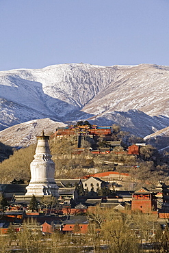 Mountains of Wutai Shan in winter, Five Terrace Mountain, Great White Pagoda, Northern Terrace, Buddhist Centre, town of Taihuai, Shanxi province, China