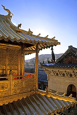 Golden Hall in copper, Xian Tong Temple, Oldest monastery in Mount Wutai, Wutai Shan, Five Terrace Mountain, Buddhist Centre, town of Taihuai, Shanxi province, China