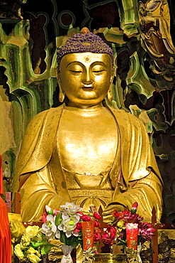 Buddha statue in Manjushri Temple, 500 Arhats, Mount Wutai, Wutai Shan, Five Terrace Mountain, Buddhist Centre, town of Taihuai, Shanxi province, China