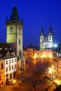 View of the old town square at night with Tyn church, Old Town Hall, Staromestske Namesti, Prague, Czech Republic