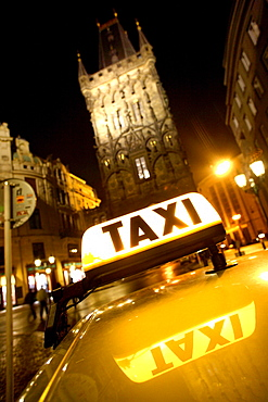 Close up of a taxi at Powder Gate, Old Town, Stare Mesto, Prague, Czech Republic