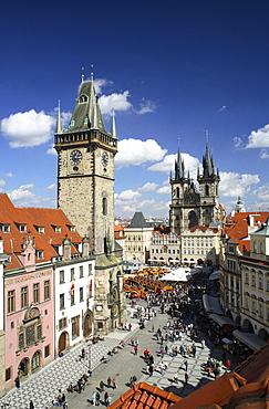 View of the Old Town Hall, Tyn Church, Old Town Square, Stare Mesto Staromestske Namesti, Prague, Czech Republic