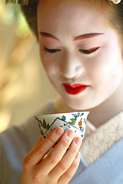 Close-up of a Geisha in Training, Maiko Masayo, Kyoto, Japan