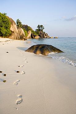 Footprints on Anse Source D'Argent Beach, La Digue Island, Seychelles