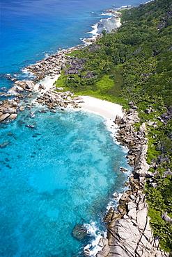 Aerial Photo of Granite Rocks & Beach near Pte. Turcey, La Digue Island, Seychelles