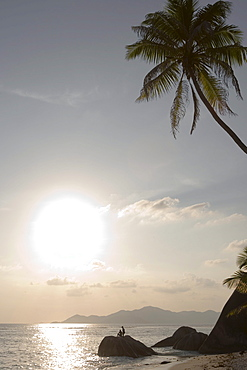 Sunset Silhouette at Pte. Source D'Argent, La Digue Island, Seychelles