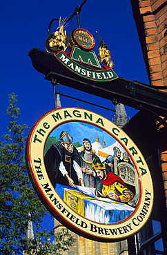 Europe, England, Lincolnshire, pubsign in Lincoln