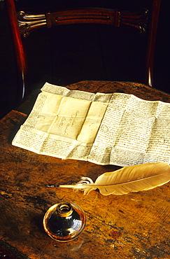 Europe, England, Hampshire, Chawton, Chawton House, Jane Austen's desk