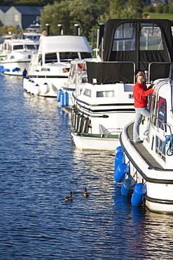 Houseboats at Belturbet Harbour on River Erne, Belturbet, County Cavan, Ireland