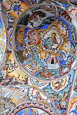 Study, detail of the religious paintings in the church of the Rila Monastery, Rila Mountains, Bulgaria, Europe