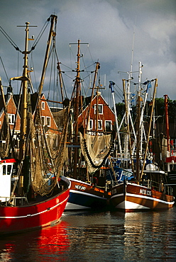 Fishing boats, harbour, Nauharlingersiel, East Frisia, Germany