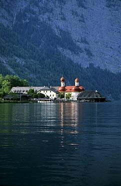 church of St. Bartholomae at lake Koenigssee, Berchtesgaden range, Upper Bavaria, Bavaria, Germany