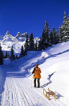 sledging at hut Lindauer Huette, Raetikon range, Vorarlberg, Austria