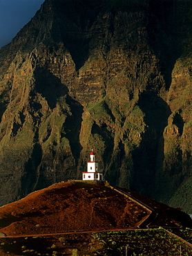Bell tower of the church, Frontera, village in the El Golfo crater, steep face, El Hierro, Canary Islands, Spain