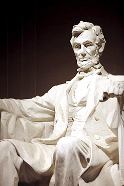 Close up of the statue of President Abraham Lincoln, Lincoln Memorial, Washington DC, America, USA