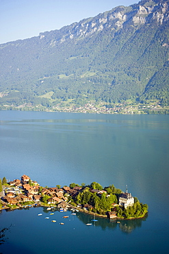 View on Iseltwald, Lake Brienz, Bernese Oberland (highlands), Canton of Bern, Switzerland