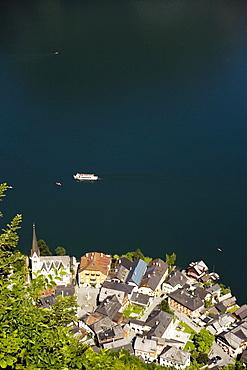 Aerial shot of Markt with Protestant Christ church, Hallstatt, Salzkammergut, Upper Austria, Austria