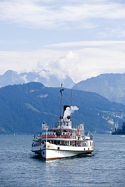 Paddle Wheel Steamer DS Unterwalden on Lake Lucerne, Canton of Lucerne, Switzerland