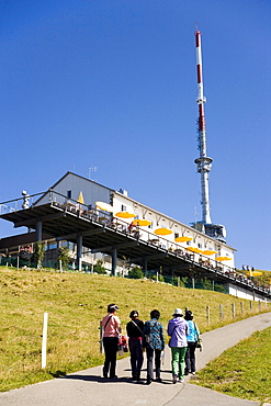 Hotel Restaurant Rigi Kulm and communication tower on Rigi Kulm (1797 m), Canton of Schwyz, Switzerland