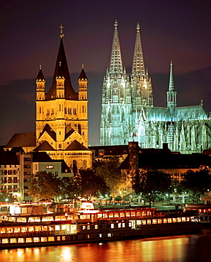 Night over Cologne with cathedral and St. Martin, Cologne, Germany
