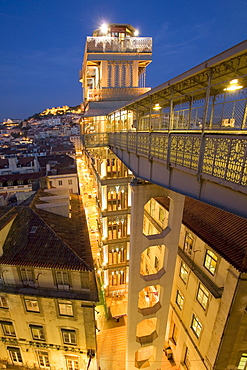Portugal, Lisbon, Portugal, Lisbon, Portugal, View from Elevator Santa Justa towords Castelo Sao Jorge at twilight