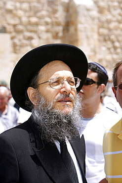 Close up of an Orthodox Jew at the Wailing Wall, Jerusalem, Israel