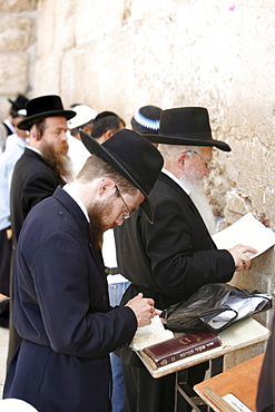 Jewish people praying at the Wailing Wall, Jerusalem, Israel