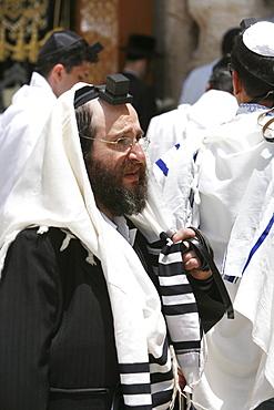 An Orthodox Jew praying at the Wailing Wall, Jerusalem, Israel