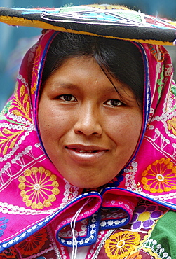 Inca woman with traditional headpiece in Aguas Calientes, Peru, South America