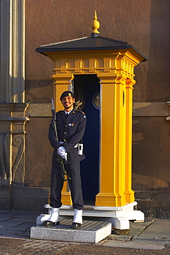 Guard in front of the Royal Palace in the old town Gamla Stan of Stockholm, Sweden