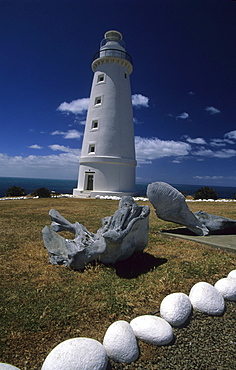 Cape Willoughby lighthouse, whale bones in the foreground, Kangaroo Island, South Australia, Australia