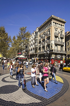 Barcelona, Ramblas, mosaic by Joan Miro, people