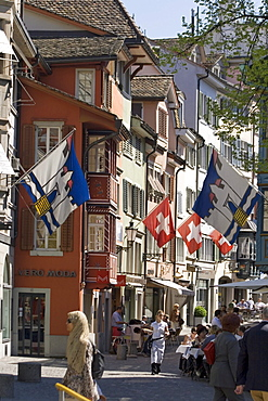 Switzerland Zurich, Augustinergasse, old city center, swiss flaggs