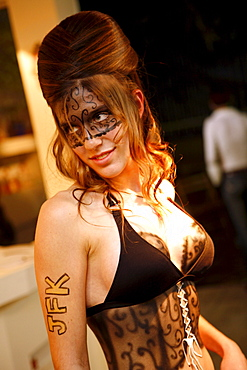 Woman with body illustration at Nightclub Night, Tel Aviv, Israel