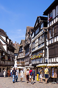 Haoef-timbered houses in the old part of the town, Petite France, Strasbourg, Alsace, France