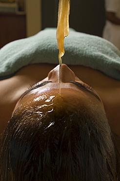 Woman receiving an Ayurveda oil therapy, Ayurvedic massage treatment, Shanti Ananda Resort und Spa, Mauritius