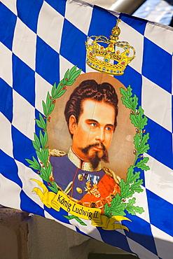 A King Ludwig II. flag, Partenkirchen, Garmisch-Partenkirchen, Upper Bavaria, Germany