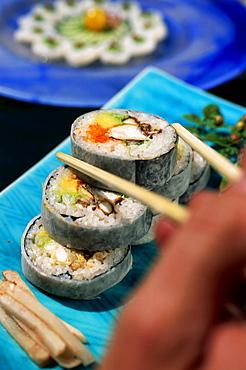 Sushi Futo Maki with caviar and crabmeat, Restaurant Matsuhisa, Beverly Hills, Los Angeles, California, USA