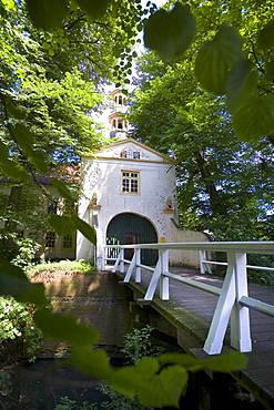 Gate Lodge, Moated Castle, Dornum, East Frisia, North Sea, Lower Saxony, Germany