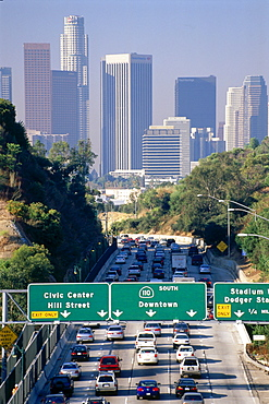 Downtown L.A. with highway 110 at rush hour, Los Angeles, California, USA