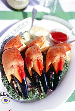 Plate of stone crabs jumbo size, Restaurant Smith & Wollensky, South Beach, Miami, Florida, USA